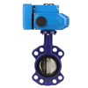 Multiple standards wafer butterfly valve with electric actuator