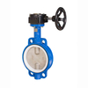 "6"" double half shaft PTFE valve seat chemical wafer butterfly valve with gear box"